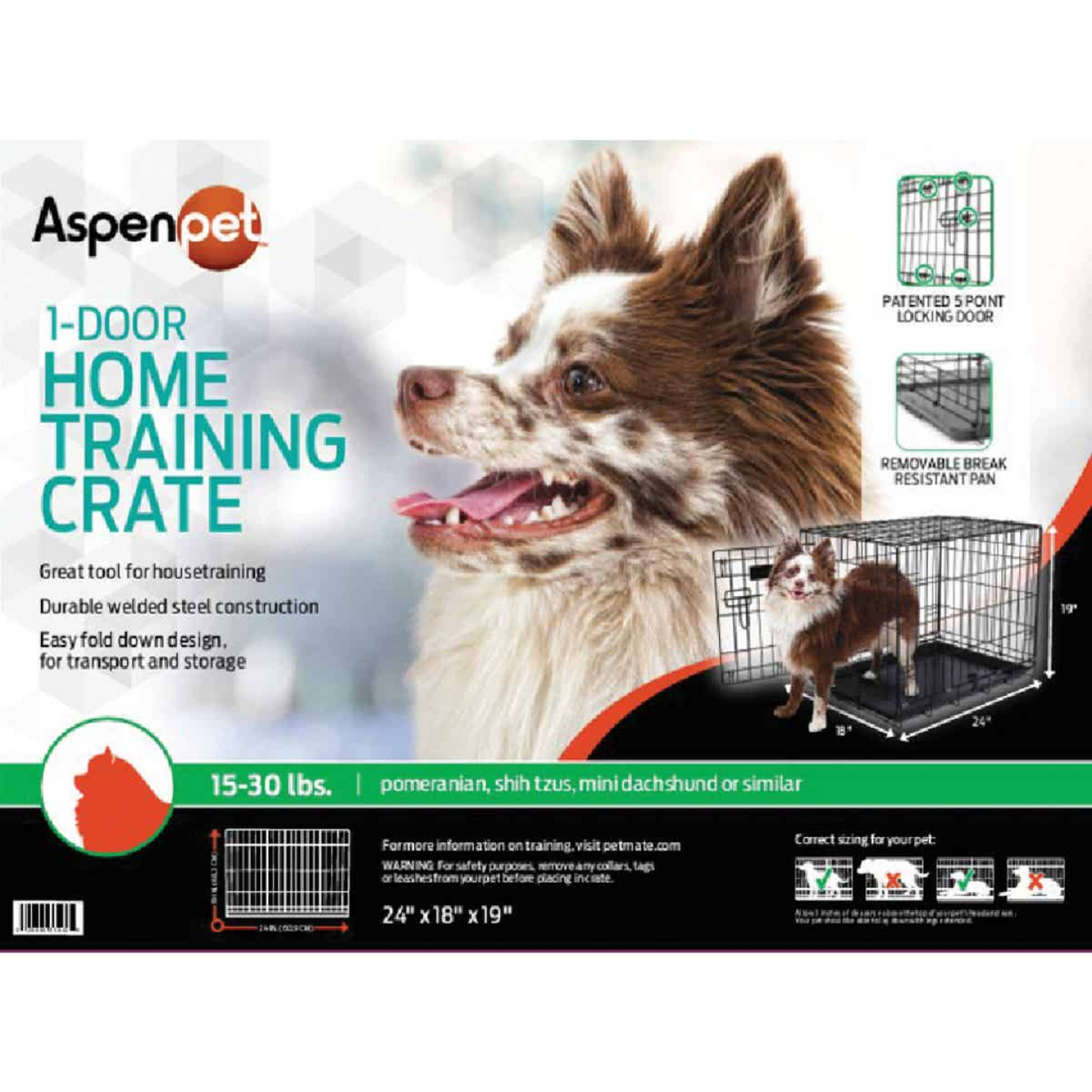 Petmate Aspen Pet 17 In. W. x 19.4 In. H. x 24.6 In. L. Heavy-Gauge Wire Indoor Training Dog Crate Image 2