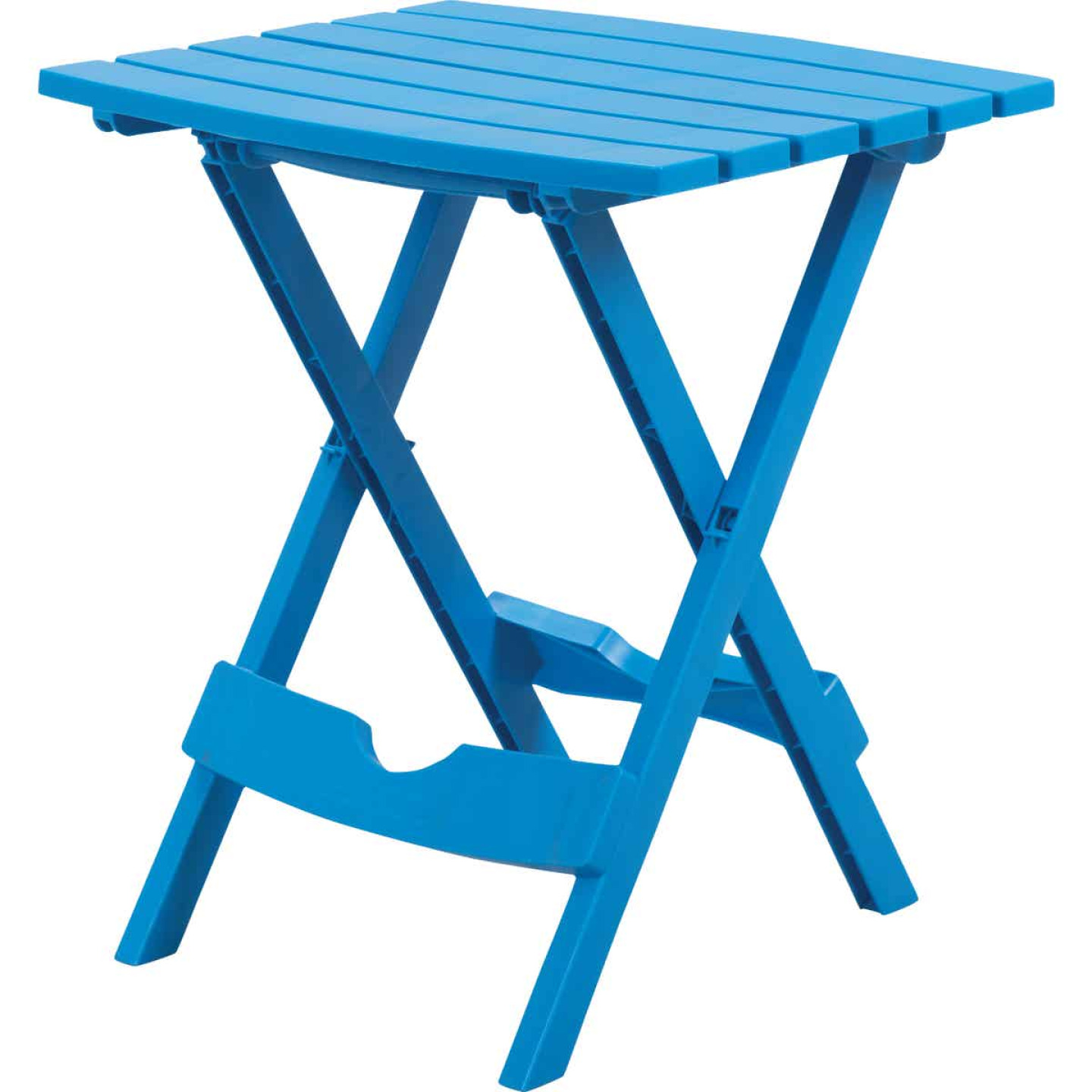 Adams Quik-Fold Blue 15 In. x 17.5 In. Rectangle Resin Folding Side Table Image 1